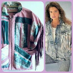 Vintage 80s Quilted Fringed Western Jacket Pink  L